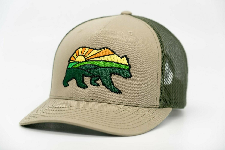 Prairie Bear Logo Hat Olive 5 Panel