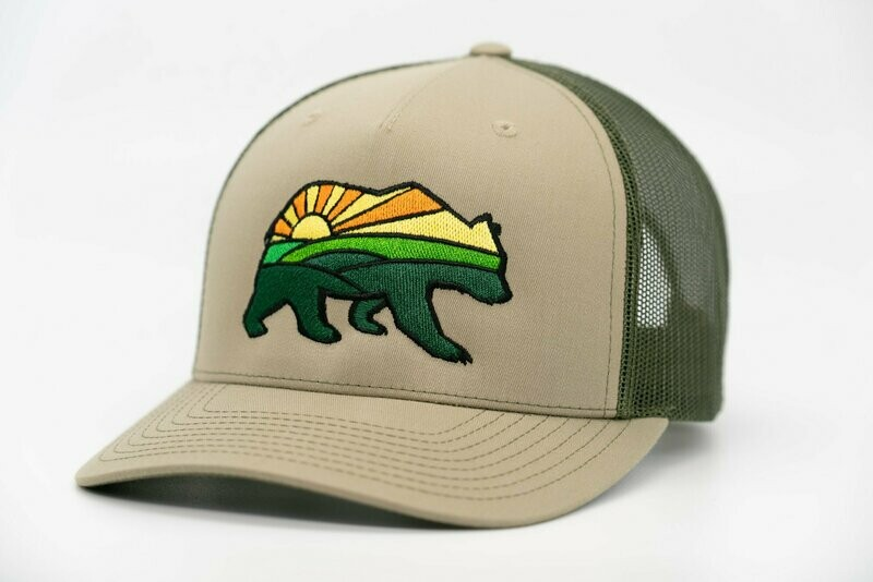 Prairie Bear Logo Hat Olive 5 Panel