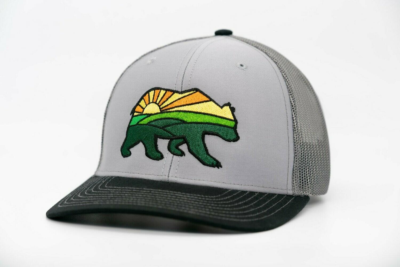 Prairie Bear Logo Hat Gray 6 Panel