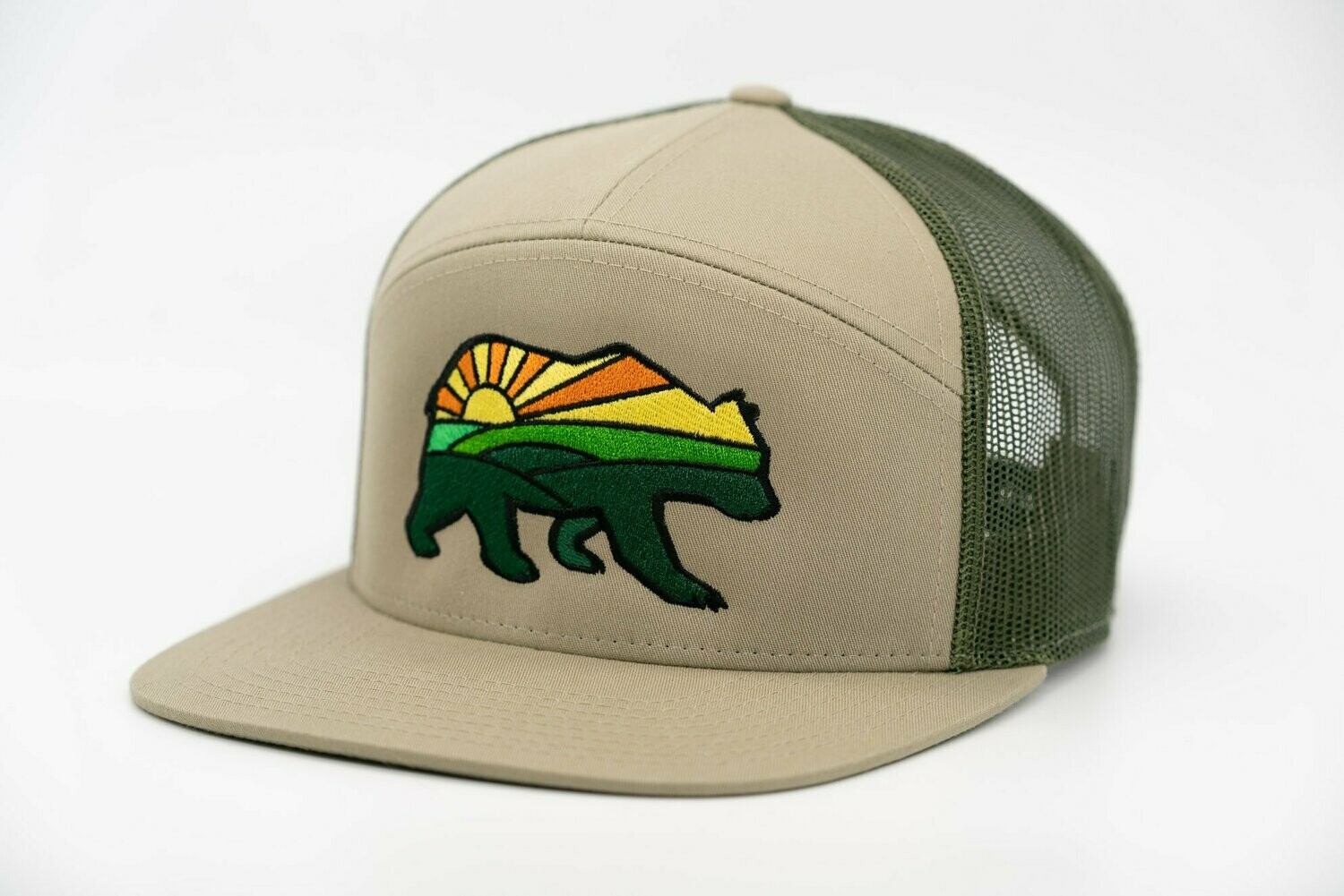 Prairie Bear Logo Hat Olive 7 Panel