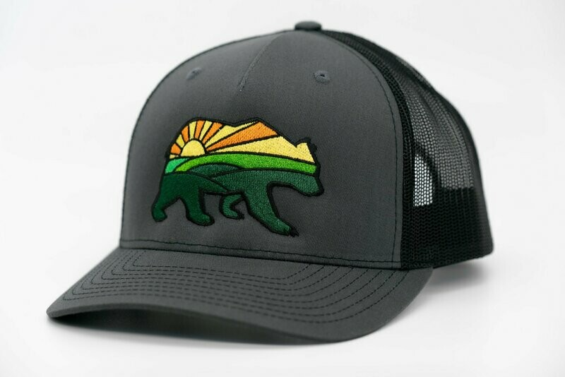 Prairie Bear Logo Hat Charcoal 5 Panel