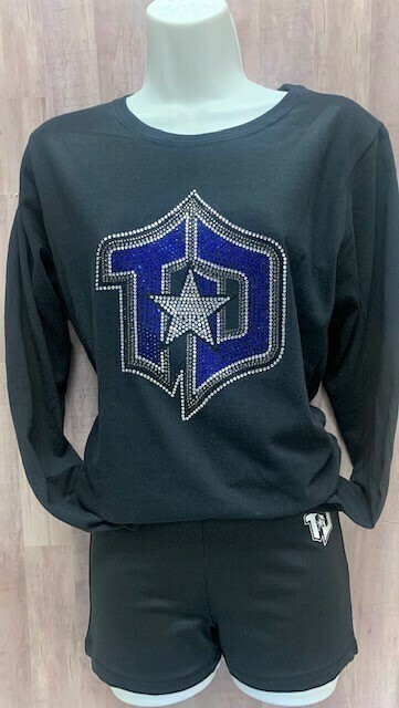 Ladies Long Sleeve Tee with Rhinestone Logo