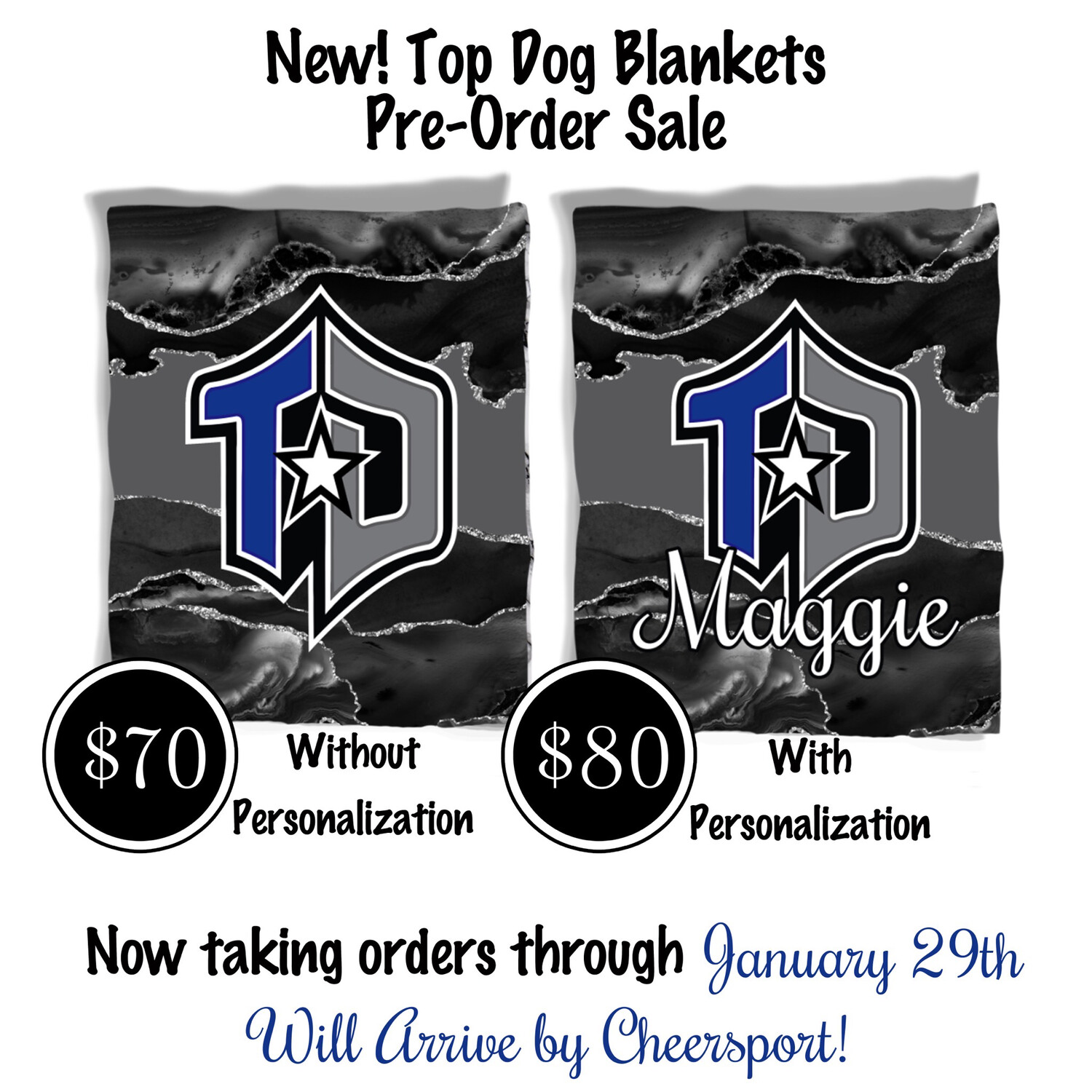Custom Top Dog Fleece Blanket Customized with Athlete's Name.