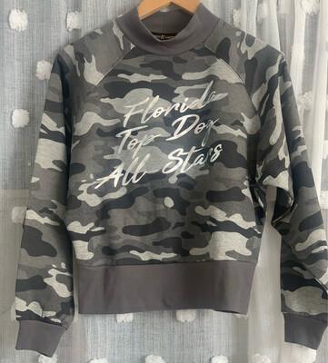 Camo Print Mock Neck Sweatshirt
