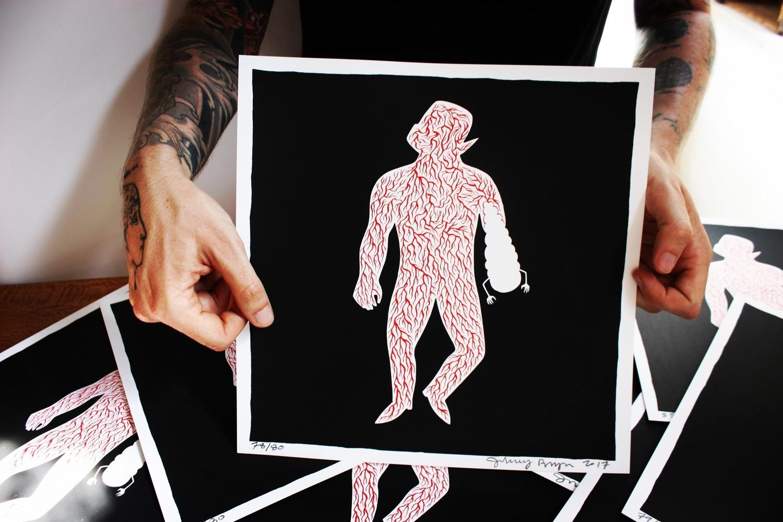 """Sérigraphie Prison Pit """"Silhouette"""" numérotée et signée par Johnny Ryan"""