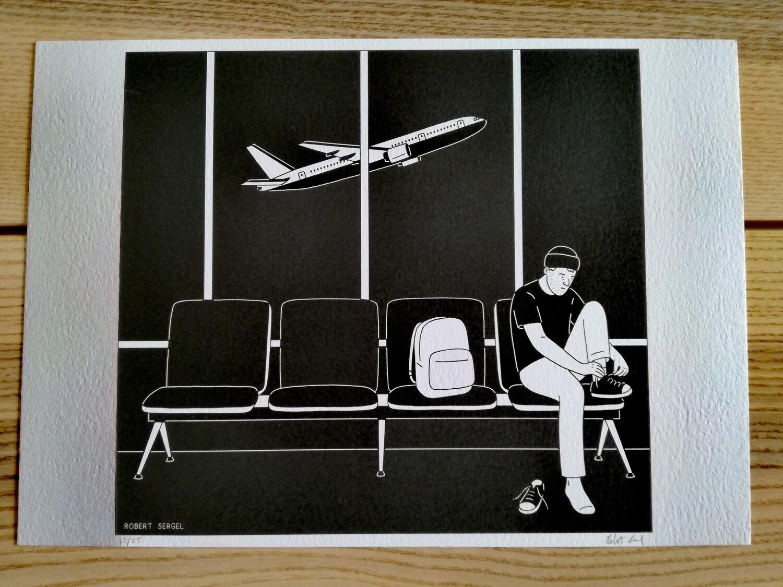 """Affiche """"Aéroport"""" par R. Sergel - numérotée et signée à 25 exemplaires"""