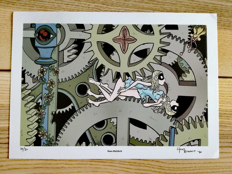 """Affiche """"Engrenages """" par H. Rikheit - numérotée et signée à 30 exemplaires"""