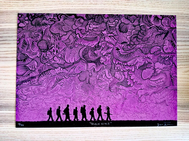 """Affiche """"Black River """" par J. Simmons - numérotée et signée à 80 exemplaires"""