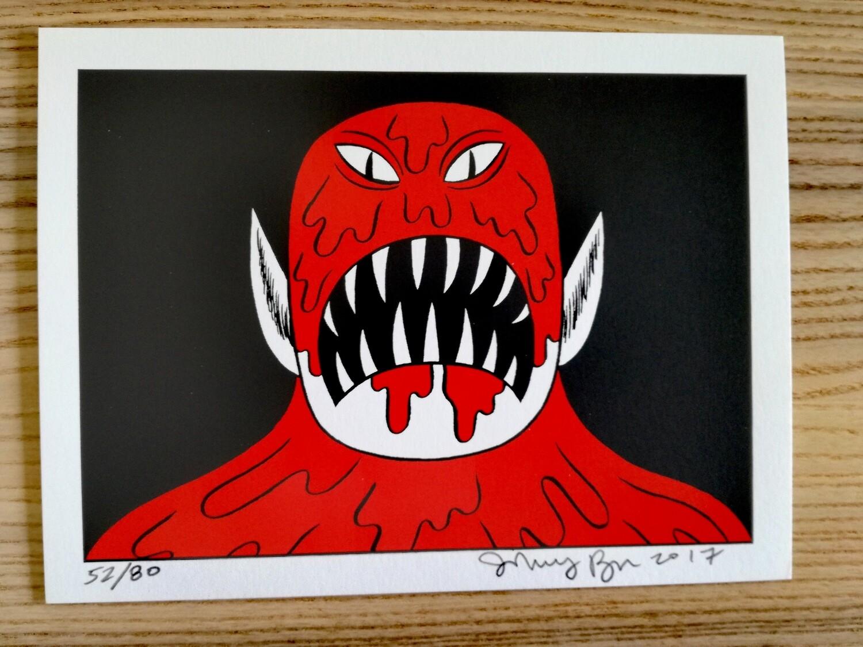 """Sérigraphie Prison Pit """"cannibale"""" numérotée et signée par Johnny Ryan"""