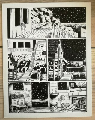 Planche originale (short stories collection: Fury Trap/Flayed Corpse. Editions Fantagraphics / USA (21,5x28cm) (5)