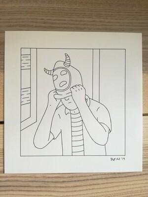 Dessin Original Robert Sergel 22,5x 23 cm