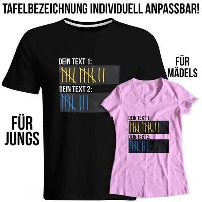T-Shirt Strichliste mit Wunschtext, Tafeln mit Kreide beschreibbar inkl. 12er-Pack Kreide (Verschiedene Ausführungen)