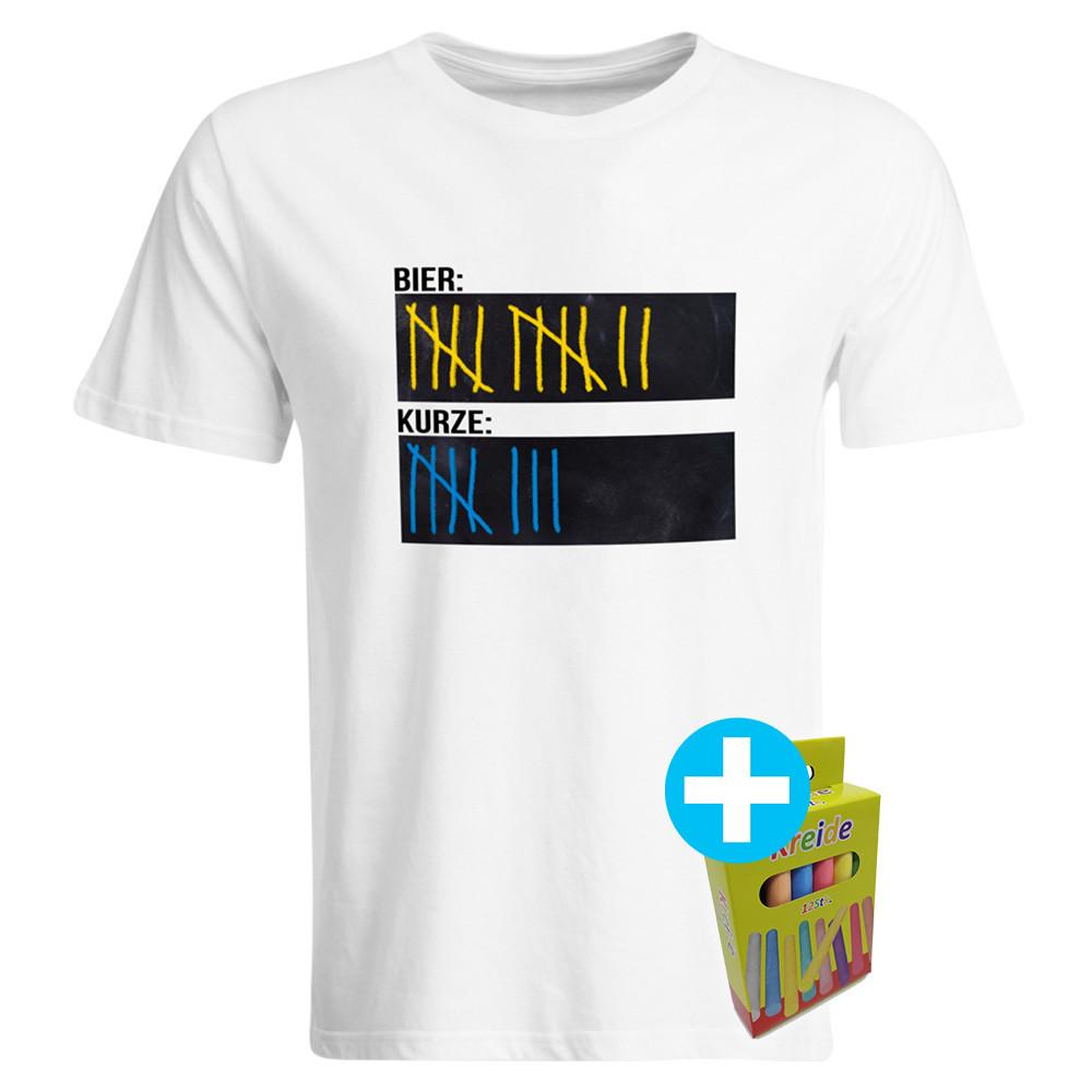 T-Shirt Strichliste Bier & Kurze mit Kreide beschreibbar inkl. 12er-Pack Kreide (Herren Rundhals, Weiß)