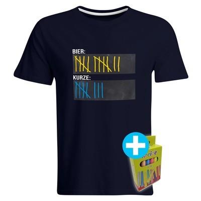 T-Shirt Strichliste Bier & Kurze inkl. 12er-Pack Kreide (Herren, Rundhals, Navy)