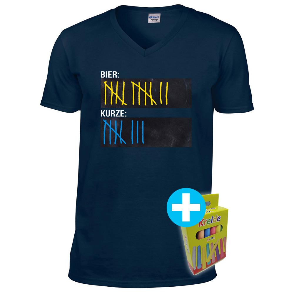 T-Shirt Strichliste Bier & Kurze mit Kreide beschreibbar inkl. 12er-Pack Kreide (Herren V-Neck, Navy)