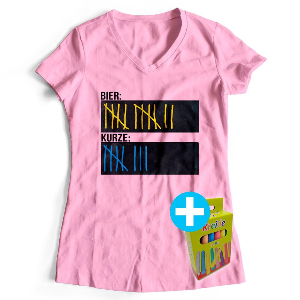 T-Shirt Strichliste Bier & Kurze inkl. 12er-Pack Kreide (Damen, V-Neck, Rosa)