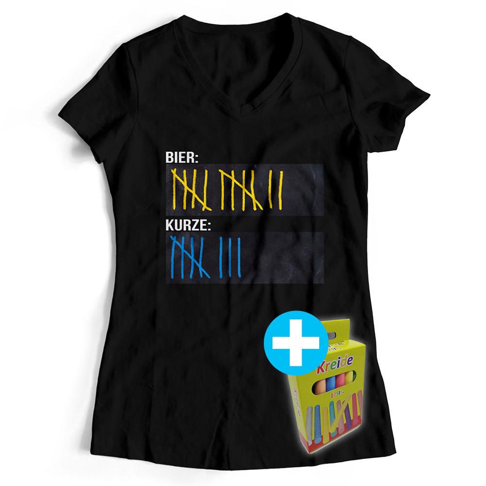 T-Shirt Strichliste Bier & Kurze inkl. 12er-Pack Kreide (Damen, V-Neck, Schwarz)