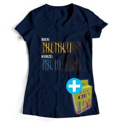 T-Shirt Strichliste Bier & Kurze inkl. 12er-Pack Kreide (Damen, V-Neck, Navy)