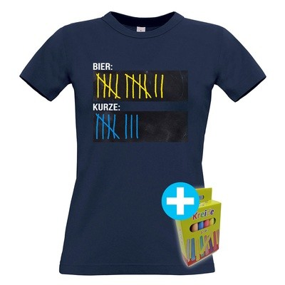 T-Shirt Strichliste Bier & Kurze inkl. 12er-Pack Kreide (Damen / Rundhals / Navy)
