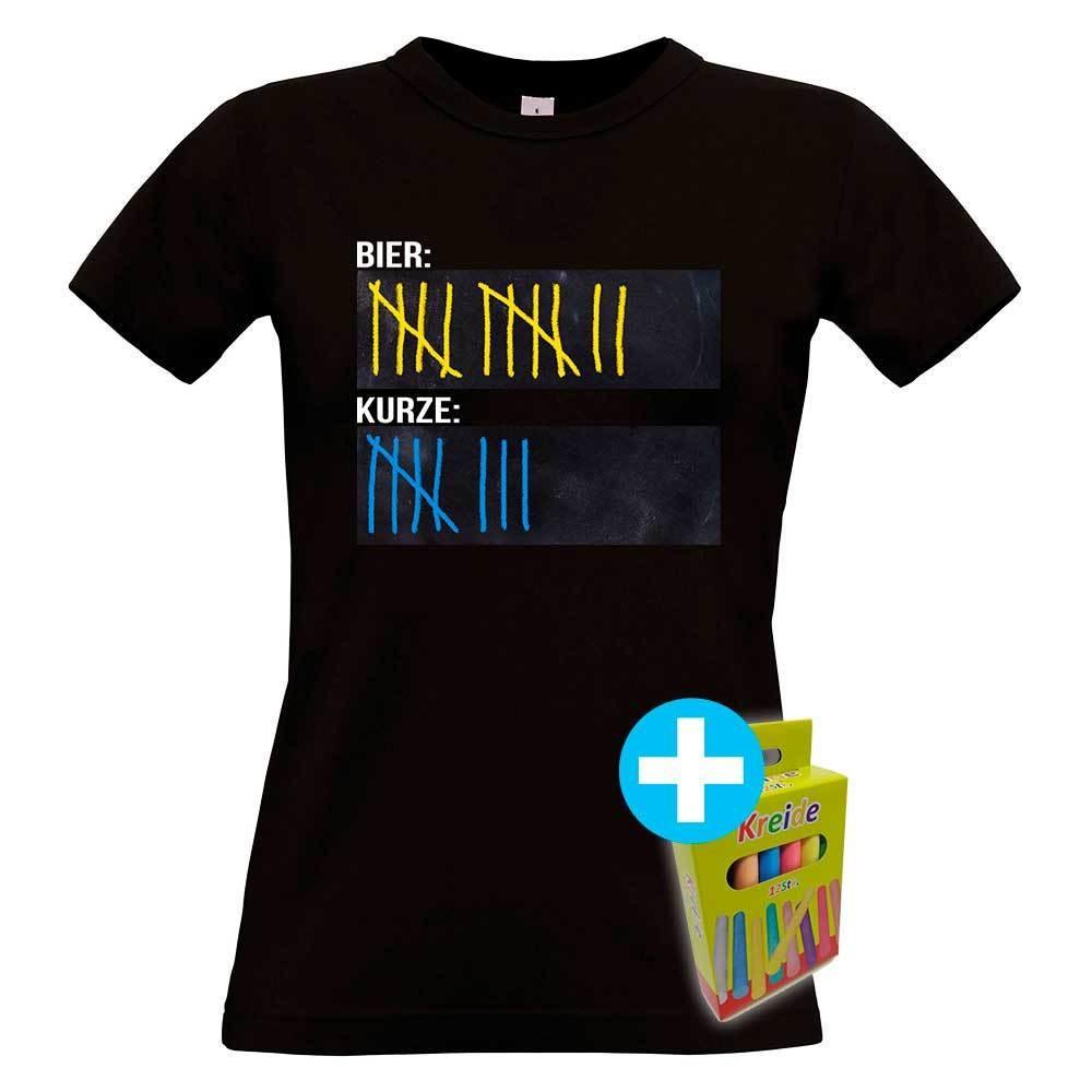 T-Shirt Strichliste Bier & Kurze inkl. 12er-Pack Kreide (Damen / Rundhals / Schwarz)