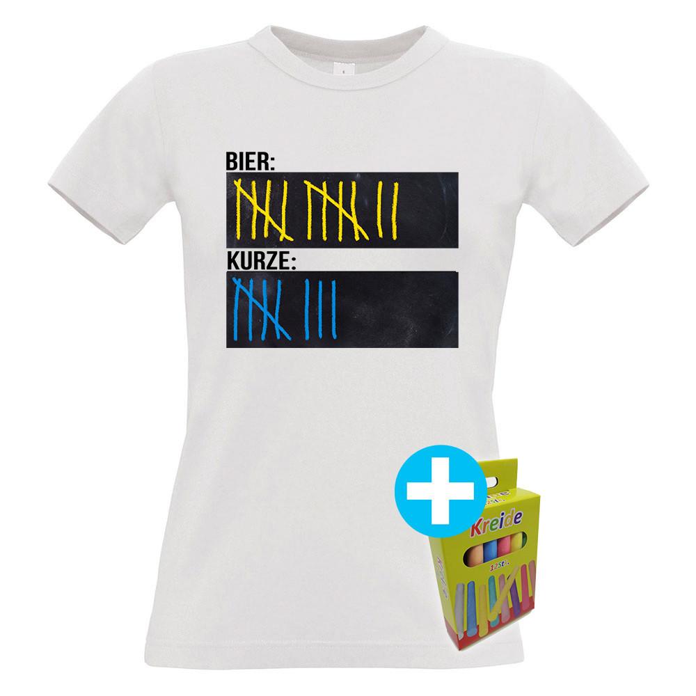 T-Shirt Strichliste Bier & Kurze inkl. 12er-Pack Kreide (Damen, Rundhals, Weiß)