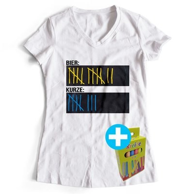 T-Shirt Strichliste Bier & Kurze inkl. 12er-Pack Kreide (Damen, V-Neck, Weiß)