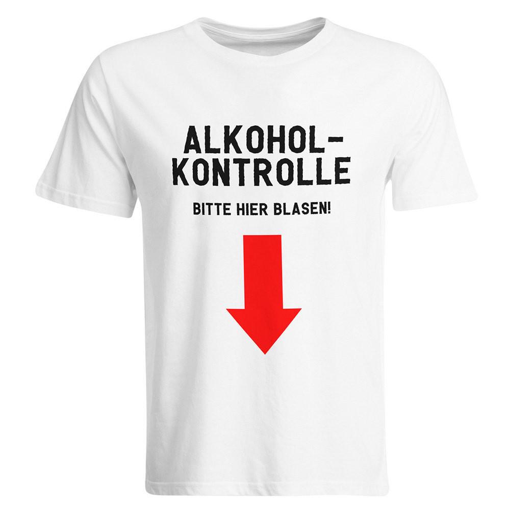 Alkoholkontrolle – Bitte hier blasen T-Shirt (Herren, Rundhals Ausschnitt)