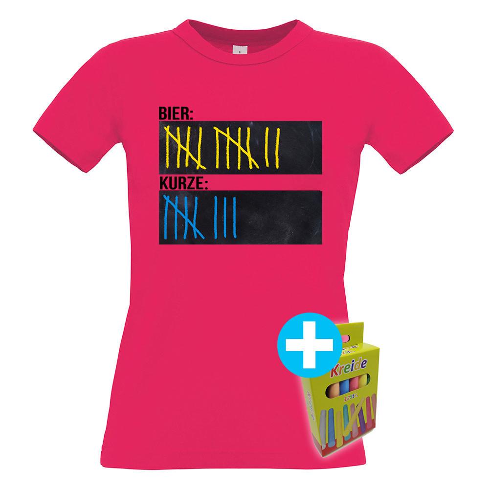T-Shirt Strichliste Bier & Kurze inkl. 12er-Pack Kreide (Damen, Rundhals, verschiedene Farben)