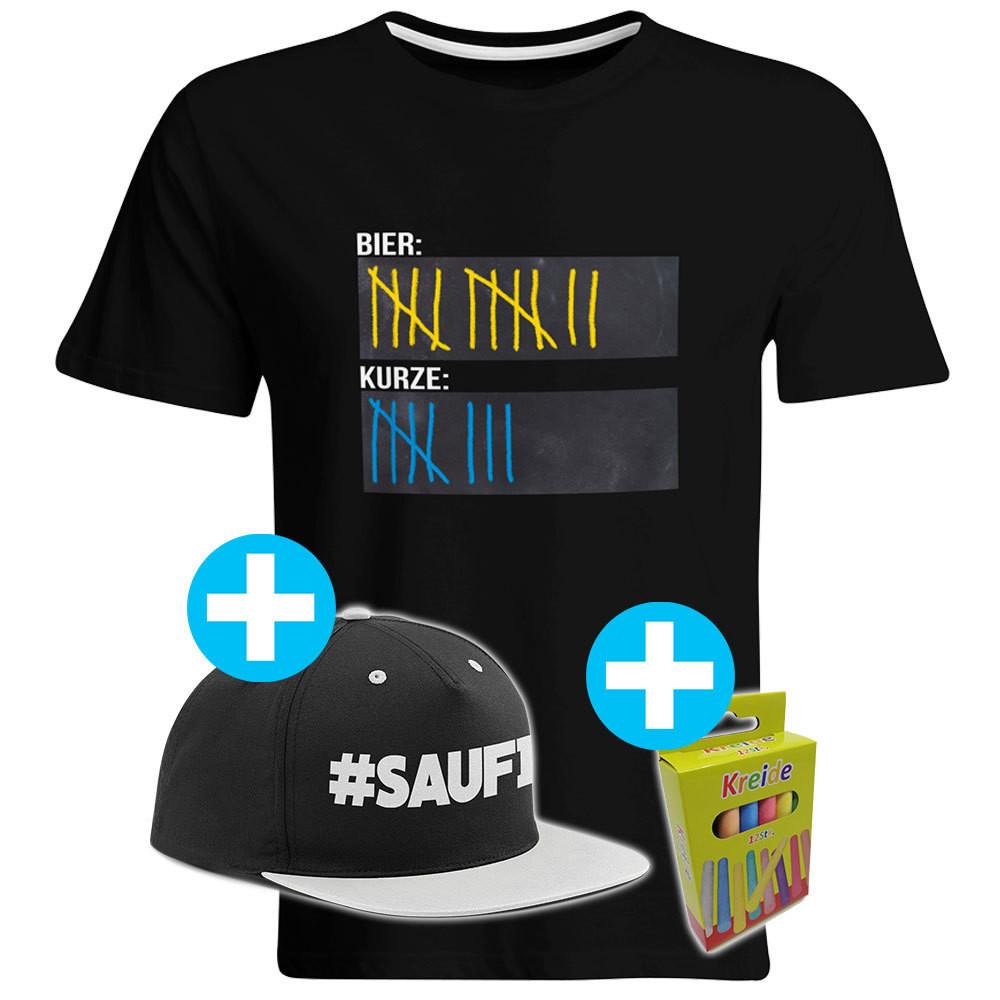 T-Shirt Strichliste Bier & Kurze mit Kreide beschreibbar inkl. Saufi Snapback (Grau) und 12er-Pack Kreide (Herren, Rundhals, Schwarz)