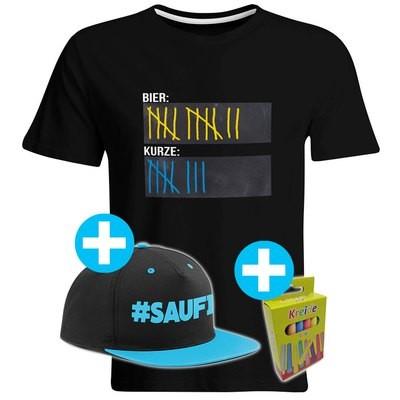 T-Shirt Strichliste Bier & Kurze mit Kreide beschreibbar inkl. Saufi Snapback (Blau) und 12er-Pack Kreide (Herren, Rundhals, Schwarz)