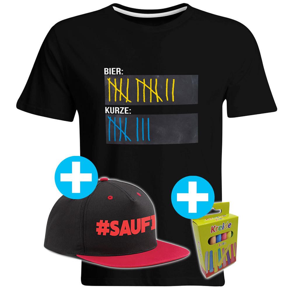T-Shirt Strichliste Bier & Kurze mit Kreide beschreibbar inkl. Saufi Snapback (Rot) und 12er-Pack Kreide (Herren, Rundhals, Schwarz)