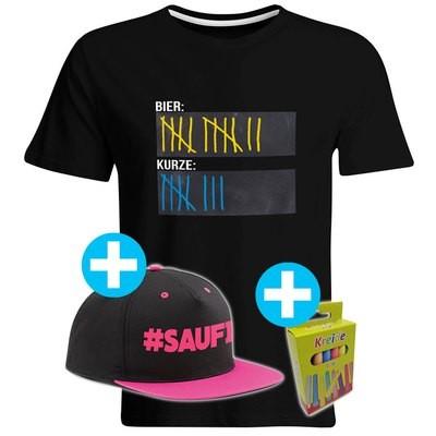 T-Shirt Strichliste Bier & Kurze mit Kreide beschreibbar inkl. Saufi Snapback (Pink) und 12er-Pack Kreide (Herren, Rundhals, Schwarz)