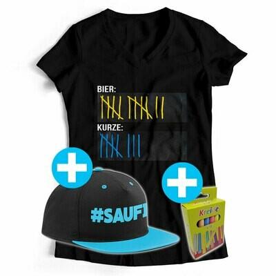 T-Shirt Strichliste Bier & Kurze mit Kreide beschreibbar inkl. Saufi Snapback (Blau) und 12er-Pack Kreide (Damen, V-Neck, Schwarz)