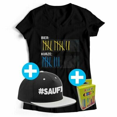 T-Shirt Strichliste Bier & Kurze mit Kreide beschreibbar inkl. Saufi Snapback (Grau) und 12er-Pack Kreide (Damen, V-Neck, Schwarz)