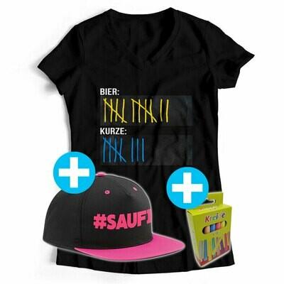 T-Shirt Strichliste Bier & Kurze mit Kreide beschreibbar inkl. Saufi Snapback und 12er-Pack Kreide (Damen, V-Neck, verschiedene Farben)