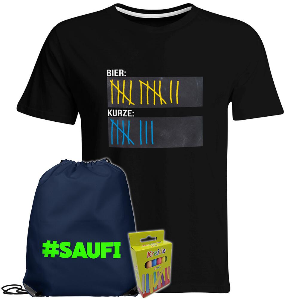 T-Shirt Strichliste Bier & Kurze mit Kreide beschreibbar inkl. Festival Bag und 12er-Pack Kreide (Herren, Rundhals, Schwarz)
