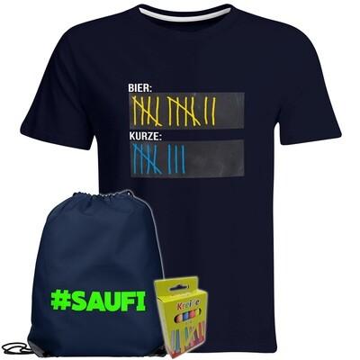 T-Shirt Strichliste Bier & Kurze mit Kreide beschreibbar inkl. Festival Bag und 12er-Pack Kreide (Herren, Rundhals, Navy)