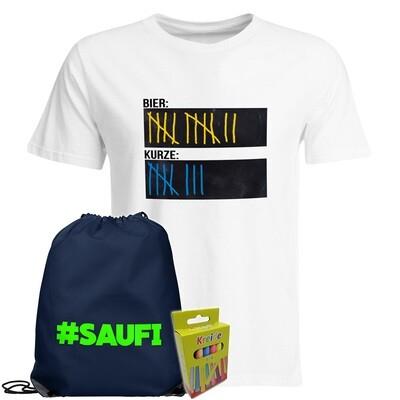 T-Shirt Strichliste Bier & Kurze mit Kreide beschreibbar inkl. Festival Bag und 12er-Pack Kreide (Herren, Rundhals, Weiß)