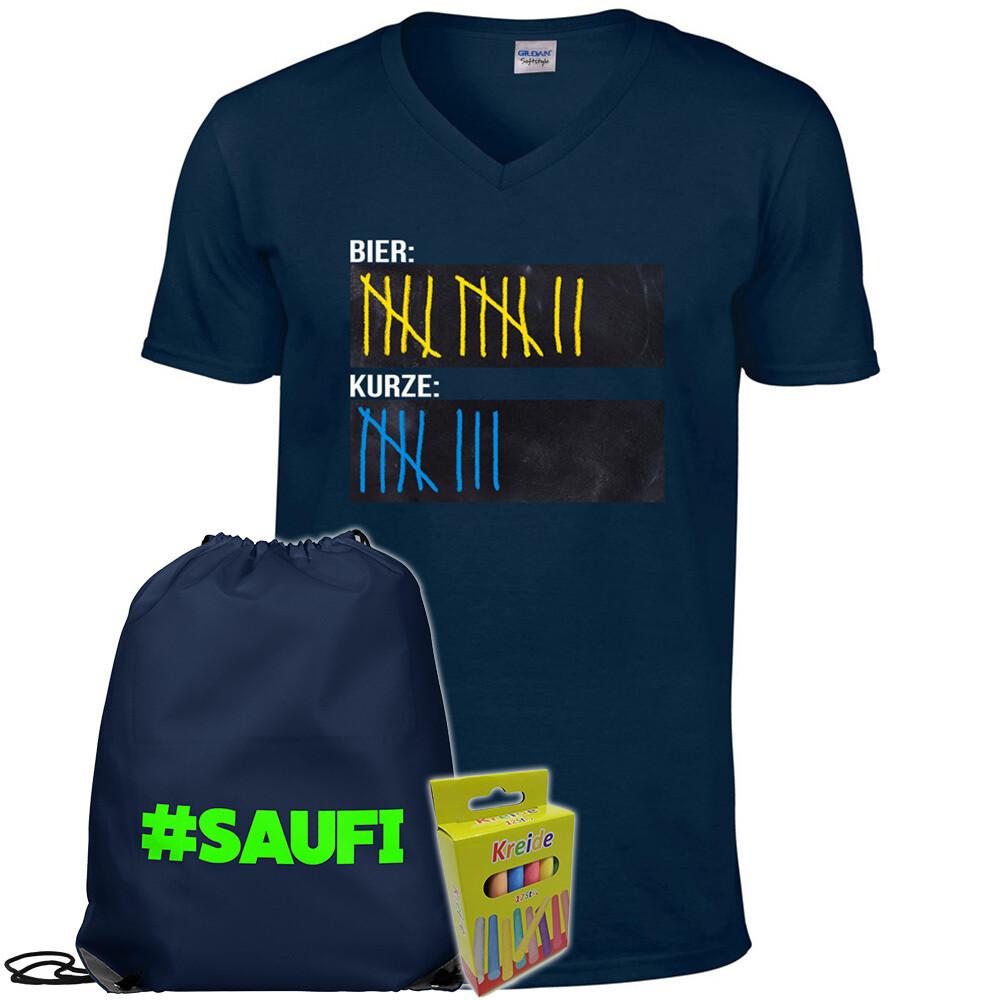 T-Shirt Strichliste Bier & Kurze mit Kreide beschreibbar inkl. Festival Bag und 12er-Pack Kreide (Herren, V-Neck, Navy)