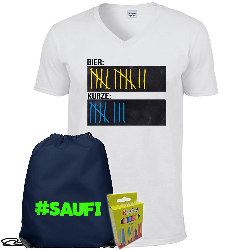 T-Shirt Strichliste Bier & Kurze mit Kreide beschreibbar inkl. Festival Bag und 12er-Pack Kreide (Herren, V-Neck, Weiß)
