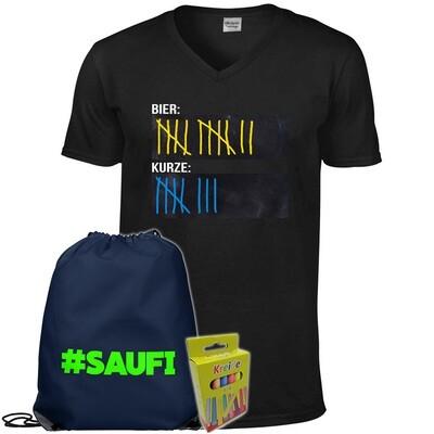 T-Shirt Strichliste Bier & Kurze mit Kreide beschreibbar inkl. Festival Bag und 12er-Pack Kreide (Herren, V-Neck, Schwarz)