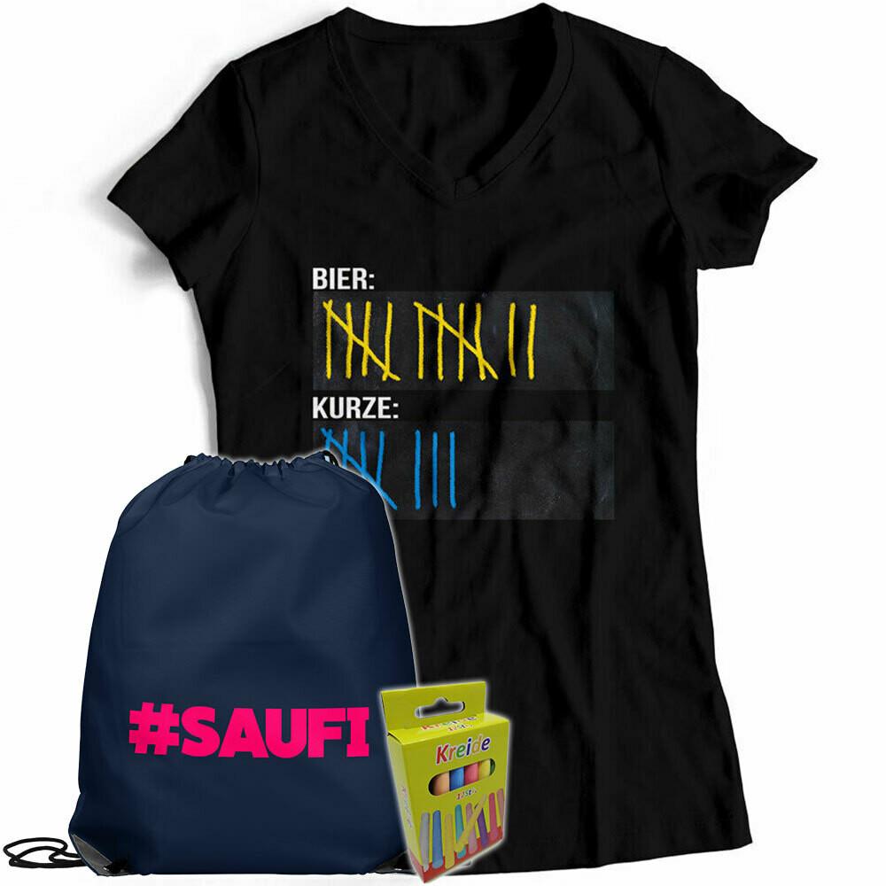T-Shirt Strichliste Bier & Kurze mit Kreide beschreibbar inkl. Saufi Festival Bag und 12er-Pack Kreide (Damen, V-Neck, verschiedene Farben)