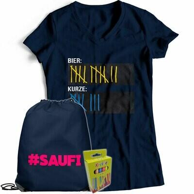 T-Shirt Strichliste Bier & Kurze mit Kreide beschreibbar inkl. Saufi Festival Bag und 12er-Pack Kreide (Damen, V-Neck, Navy)