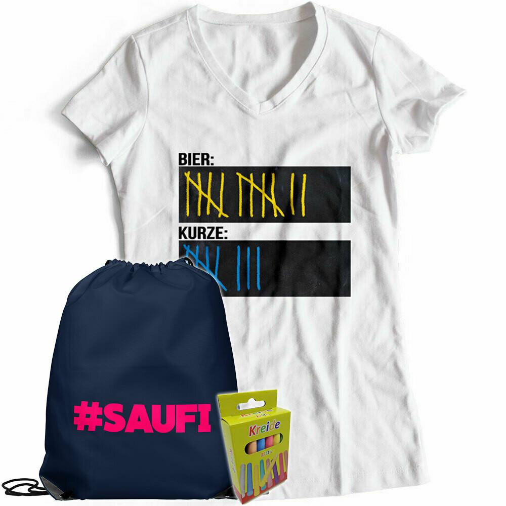 T-Shirt Strichliste Bier & Kurze mit Kreide beschreibbar inkl. Saufi Festival Bag und 12er-Pack Kreide (Damen, V-Neck, Weiß)
