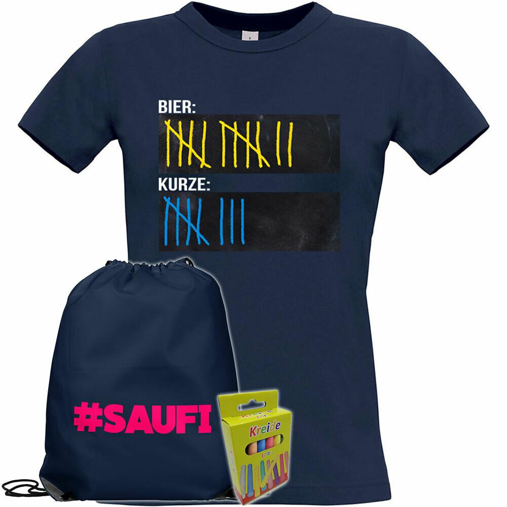 T-Shirt Strichliste Bier & Kurze mit Kreide beschreibbar inkl. Saufi Festival Bag und 12er-Pack Kreide (Damen, Rundhals, Navy)