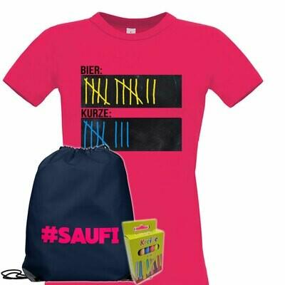 T-Shirt Strichliste Bier & Kurze mit Kreide beschreibbar inkl. Saufi Festival Bag und 12er-Pack Kreide (Damen, Rundhals, Pink)