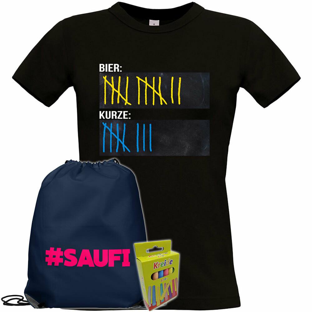 T-Shirt Strichliste Bier & Kurze mit Kreide beschreibbar inkl. Saufi Festival Bag und 12er-Pack Kreide (Damen, Rundhals, Schwarz)