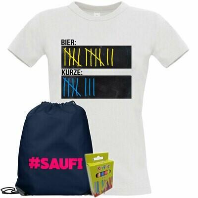 T-Shirt Strichliste Bier & Kurze mit Kreide beschreibbar inkl. Saufi Festival Bag und 12er-Pack Kreide (Damen, Rundhals, Weiß)