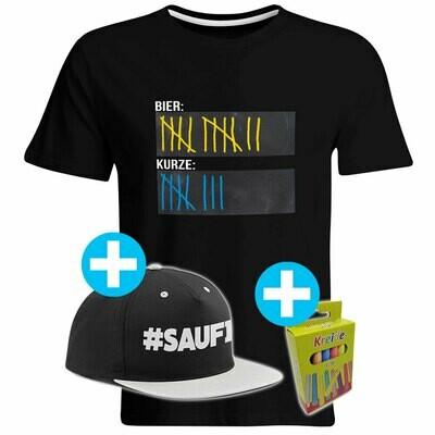 T-Shirt Strichliste Bier & Kurze mit Kreide beschreibbar inkl. Saufi Snapback und 12er-Pack Kreide (Herren, Rundhals, verschiedene Farben)