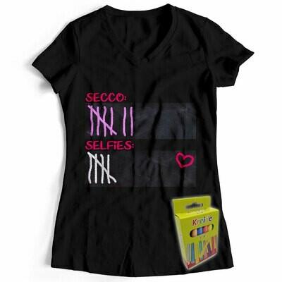 T-Shirt Strichliste Secco & Selfies inkl. 12er-Pack Kreide (Damen, V-Neck, Schwarz)